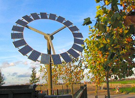"""flower wheel"" of 20 solar panels on industrial premises in Bodegraven, NL."